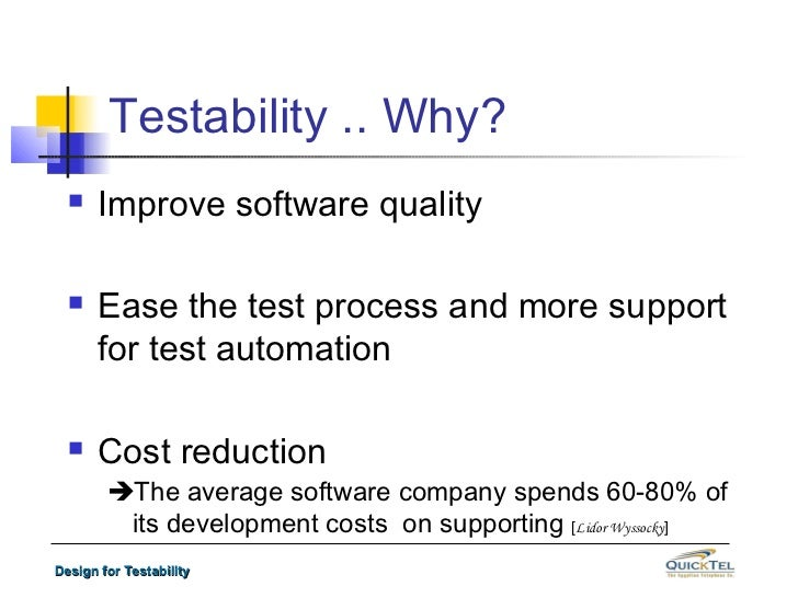 Software Design For Testability