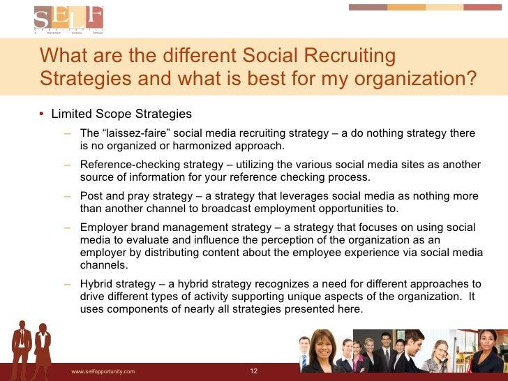 "<ul><li>Limited Scope Strategies </li></ul><ul><ul><li>The ""laissez-faire"" social media recruiting strategy – a do nothing..."