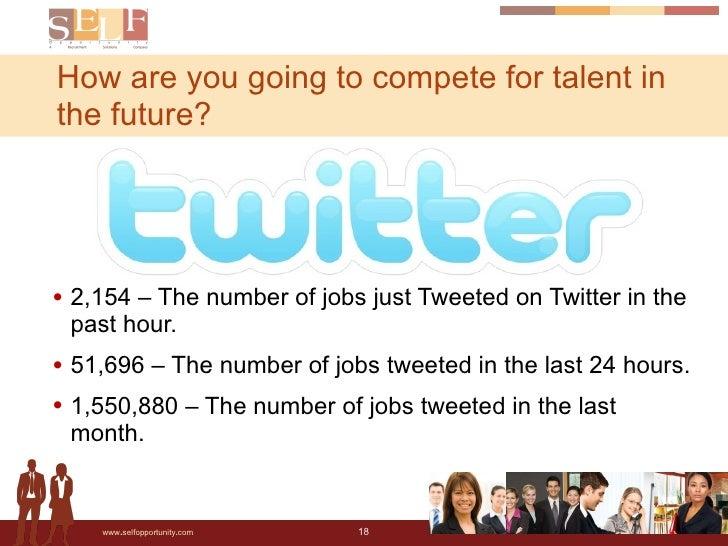 <ul><li>2,154 – The number of jobs just Tweeted on Twitter in the past hour.  </li></ul><ul><li>51,696 – The number of job...