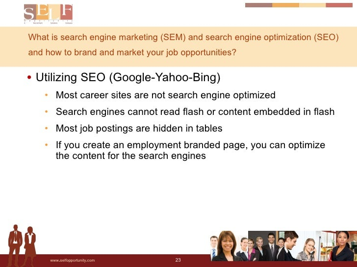 What is search engine marketing (SEM) and search engine optimization (SEO) and how to brand and market your job opportunit...