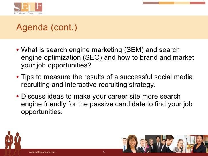 Agenda (cont.) <ul><li>What is search engine marketing (SEM) and search engine optimization (SEO) and how to brand and mar...