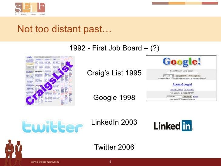Not too distant past… <ul><li>1992 - First Job Board – (?) </li></ul><ul><li>Craig's List 1995 </li></ul><ul><li>Google 19...