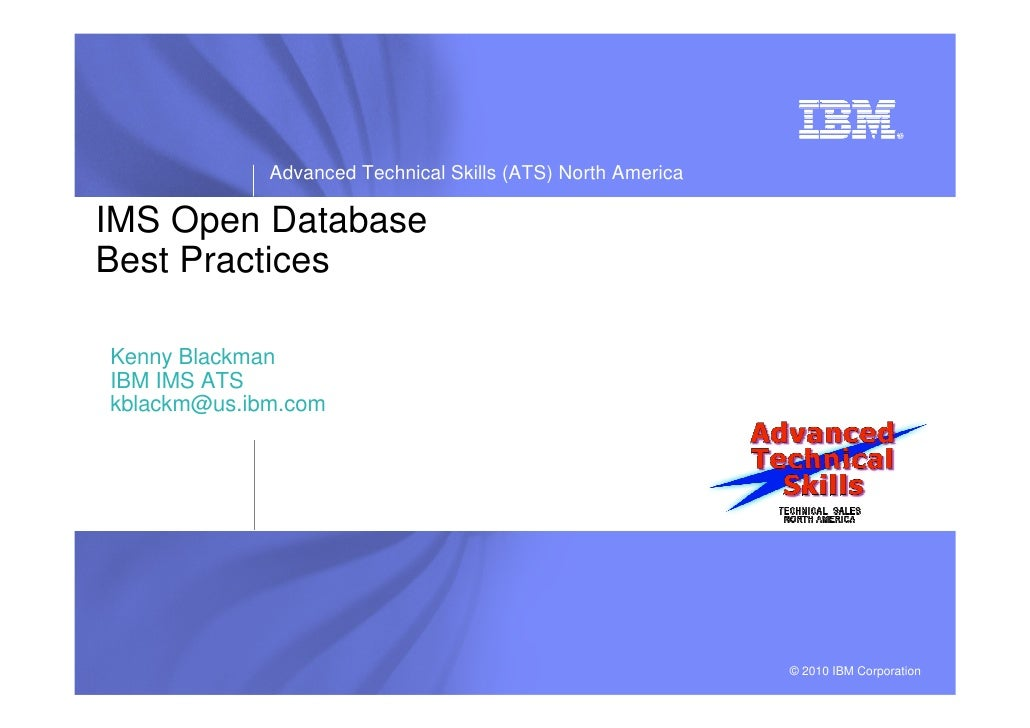 IMS Open Database (ODBM) Best Practices - IMS UG May 2012 DFW