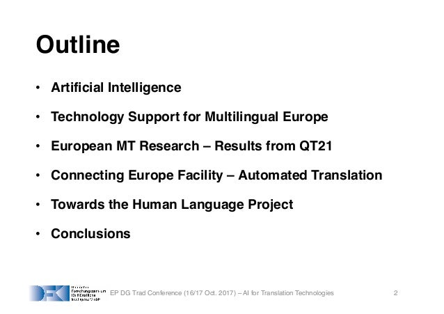 AI for Translation Technologies and Multilingual Europe Slide 2