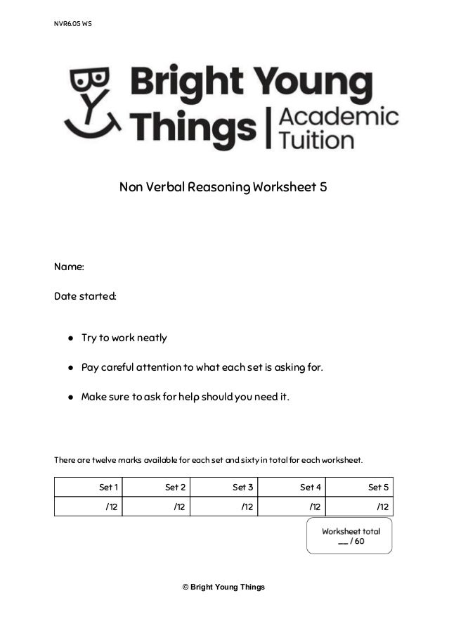 Bright Young Things - Non Verbal Reasoning Sample Paper