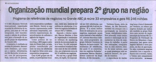 Grupo BNI Dinâmico no Diário do Grande ABC 26.12.12
