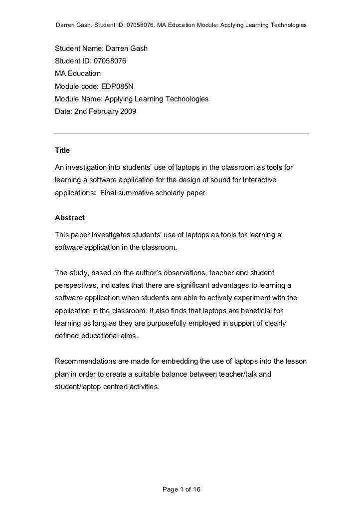 Darren Gash. Student ID: 07058076. MA Education Module: Applying Learning TechnologiesStudent Name: Darren GashStudent ID:...