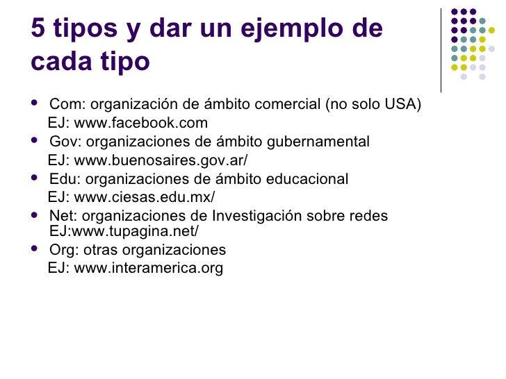 5 tipos y dar un ejemplo decada tipo   Com: organización de ámbito comercial (no solo USA)    EJ: www.facebook.com   Gov...