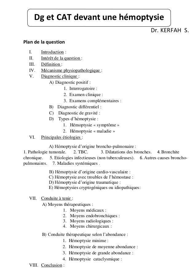 Dr. KERFAH S. Plan de la question I. Introduction : II. Intérêt de la question : III. Définition : IV. Mécanisme physiopat...