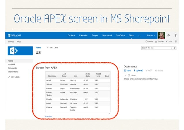 Oracle Application Express (APEX) and Microsoft Sharepoint