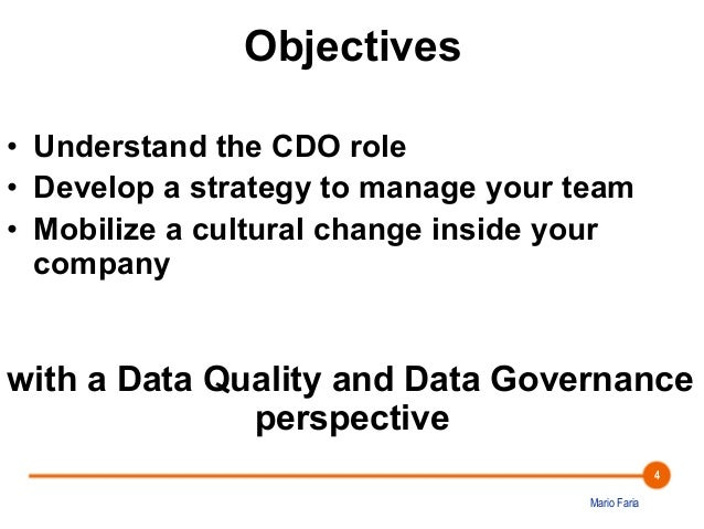 The Chief Data Officer's Quest for Data Quality and Data