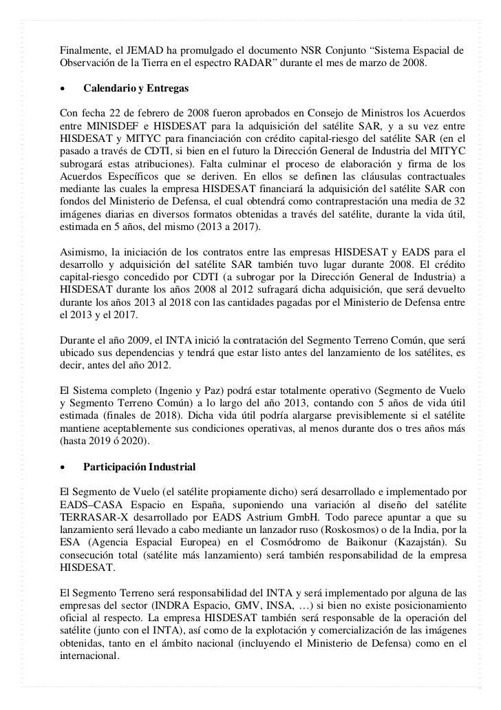 """Finalmente, el JEMAD ha promulgado el documento NSR Conjunto """"Sistema Espacial deObservación de la Tierra en el espectro R..."""