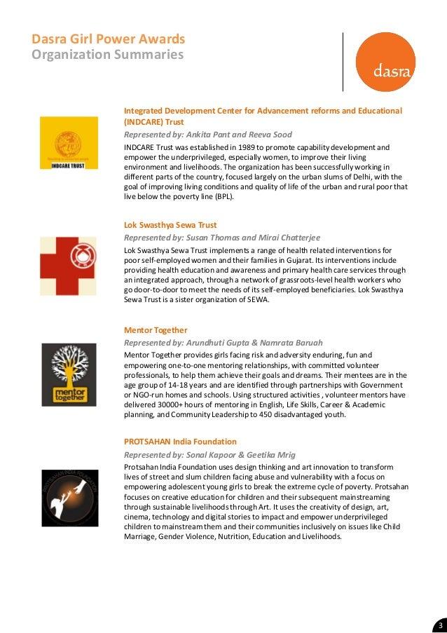 Dasra Girl Power Award Organization Summaries Slide 3