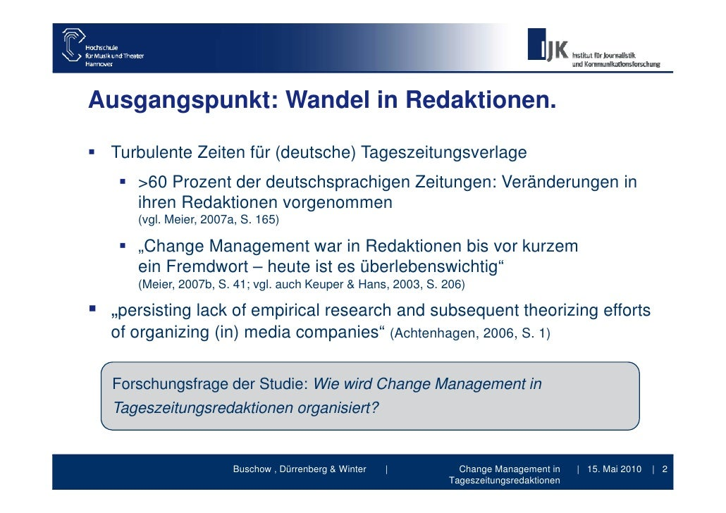 Change Management in Tageszeitungsredaktionen - Vortrag DGPuK Jahrestagung 2010 Medieninnovationen Slide 2
