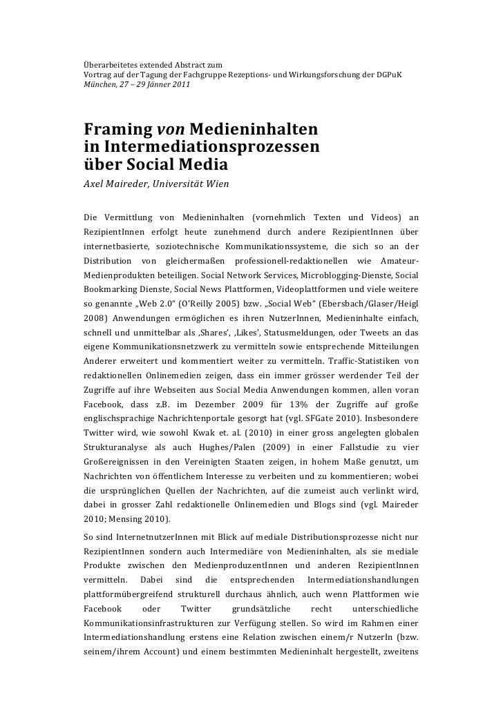 Framing von Medieninhalten im Social Web