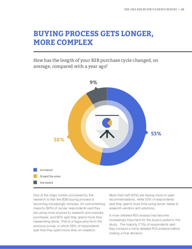 THE 2015 B2B BUYER'S SURVEY REPORT • 10 One of the major trends uncovered by this research is that the B2B buying process ...