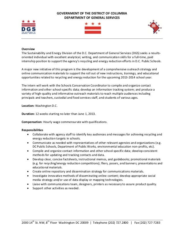 cover letter for government internship