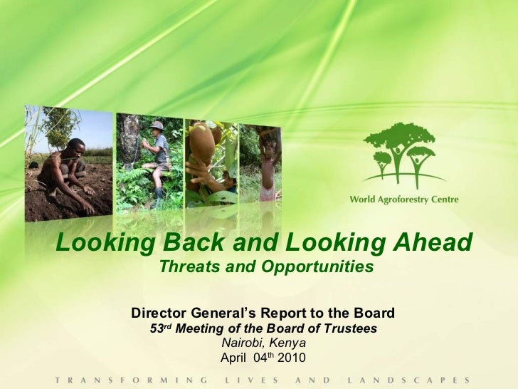 Looking Back and Looking Ahead  Threats and Opportunities Director General's Report to the Board 53 rd  Meeting of the Boa...