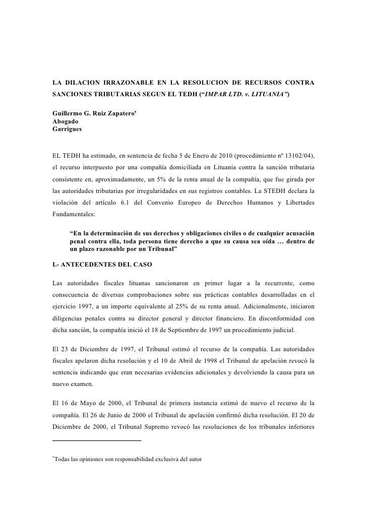 """LA DILACION IRRAZONABLE EN LA RESOLUCION DE RECURSOS CONTRA SANCIONES TRIBUTARIAS SEGUN EL TEDH (""""IMPAR LTD. v. LITUANIA"""")..."""