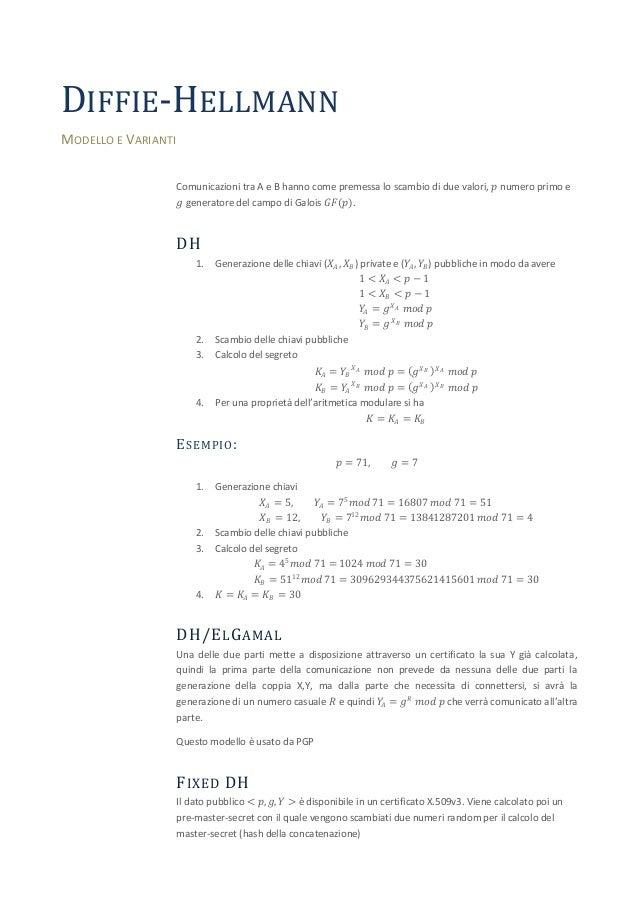 DIFFIE-HELLMANNMODELLO E VARIANTI                     Comunicazioni tra A e B hanno come premessa lo scambio di due valori...