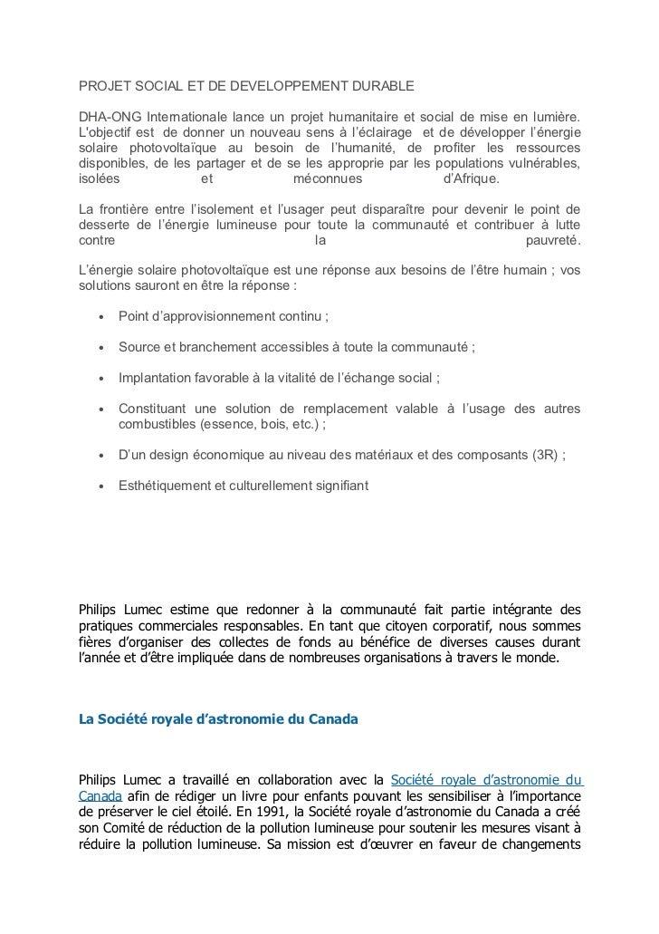 PROJET SOCIAL ET DE DEVELOPPEMENT DURABLEDHA-ONG Internationale lance un projet humanitaire et social de mise en lumière.L...
