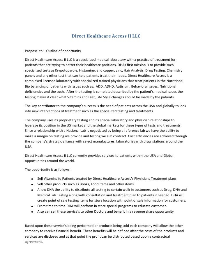 Direct Healthcare Access II LLC<br />Proposal to:   Outline of opportunity<br />Direct Healthcare Access II LLC is a speci...