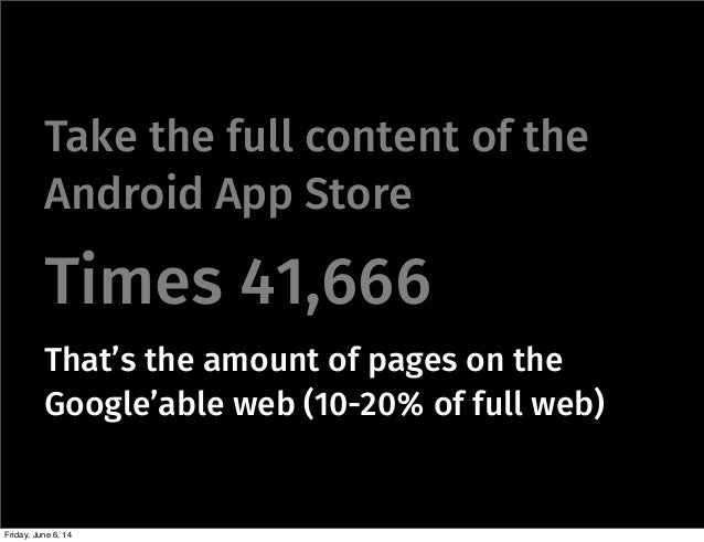 Take the full content of the Android App Store Times 41,666 That's the amount of pages on the Google'able web (10-20% of f...