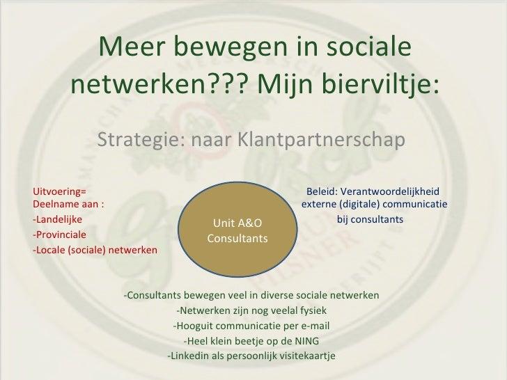 Meer bewegen in sociale netwerken??? Mijn bierviltje: <ul><li>Strategie: naar Klantpartnerschap </li></ul><ul><li>Uitvoeri...