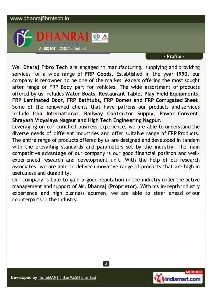 Manufacturer In Nagpur: Dhanraj Fibro Tech, Nagpur, FRP Goods