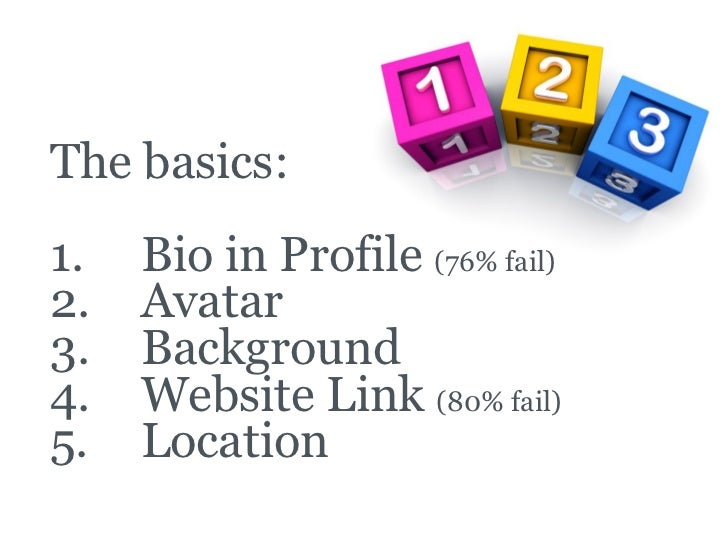 Outbound Marketing     The basics:   1.   Bio in Profile (76% fail)   2.   Avatar   3.   Background   4.   Website Link (8...