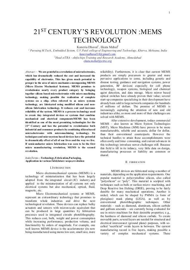 Paper on mems technology.