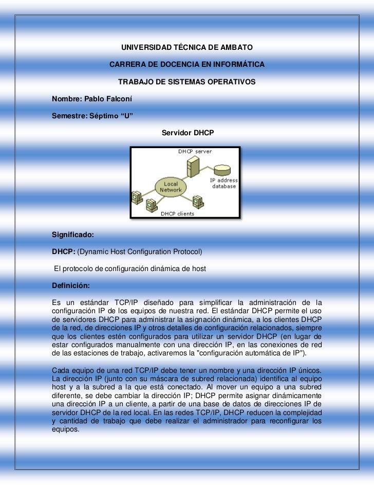 UNIVERSIDAD TÉCNICA DE AMBATO                 CARRERA DE DOCENCIA EN INFORMÁTICA                    TRABAJO DE SISTEMAS OP...