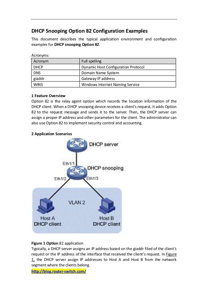 DHCP Snooping Option 82 Configuration ExamplesThis document describes the typical application environment and configuratio...