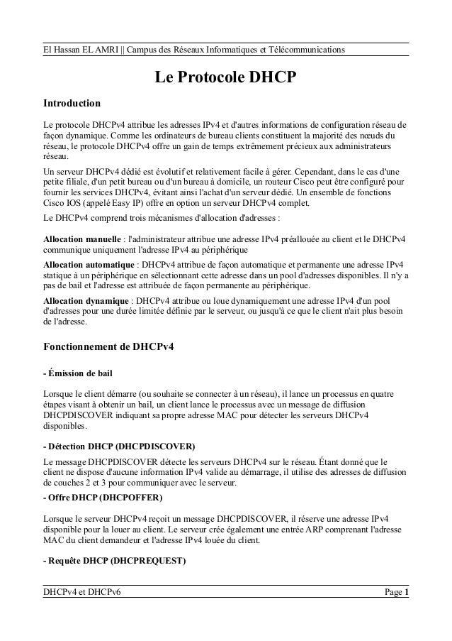El Hassan EL AMRI || Campus des Réseaux Informatiques et Télécommunications Le Protocole DHCP Introduction Le protocole DH...