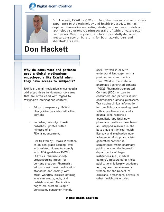 Digital Health Coalition                      Don Hackett Why do consumers and patients need a digital medic...