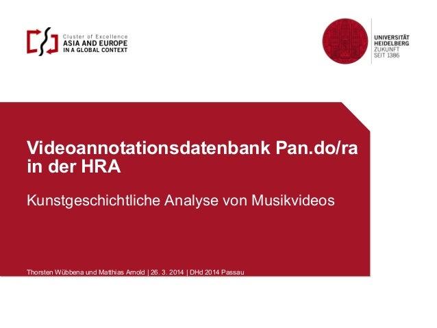 Videoannotationsdatenbank Pan.do/ra in der HRA Kunstgeschichtliche Analyse von Musikvideos Thorsten Wübbena und Matthias A...