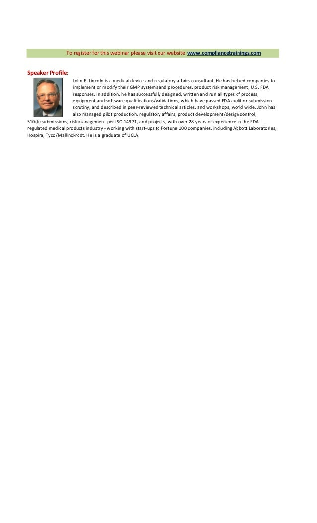 Key Regulatory Documents: Design History File (DHF ...
