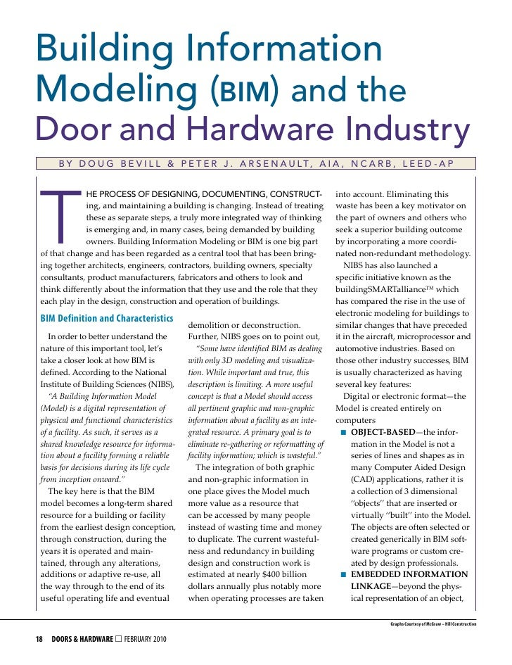 Building Information Modeling (bim) and the Door and Hardware Industry       B y D o u g B e v I l l & P e t e r J . A r s...