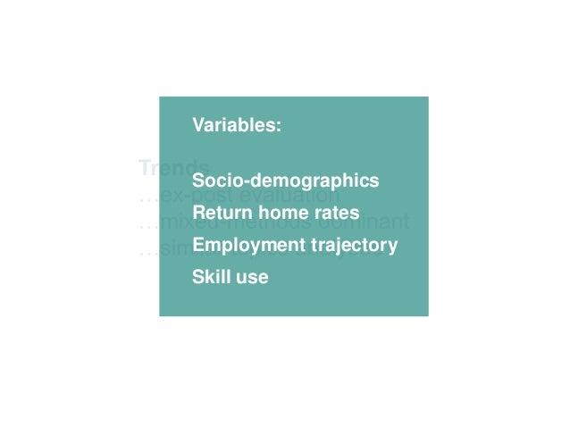 Variables: Socio-demographics Return home rates Employment trajectory Skill use