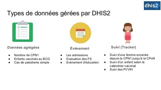 Types de données gérées par DHIS2 ● Nombre de CPN1 ● Enfants vaccinés au BCG ● Cas de paludisme simple Données agrégées ● ...