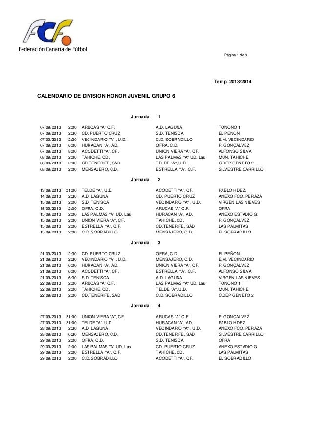Federación Canaria de Fútbol Página 1 de 8 Temp. 2013/2014 CALENDARIO DE DIVISION HONOR JUVENIL GRUPO 6 Jornada 1 07/09/20...