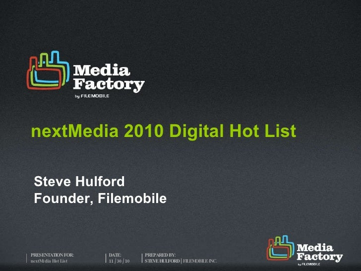 nextMedia 2010 Digital Hot List Steve Hulford Founder, Filemobile