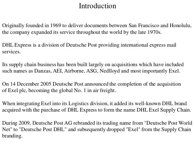 Introduction Originally founded in 1969 to deliver documents between San Francisco and Honolulu, the company expanded its ...
