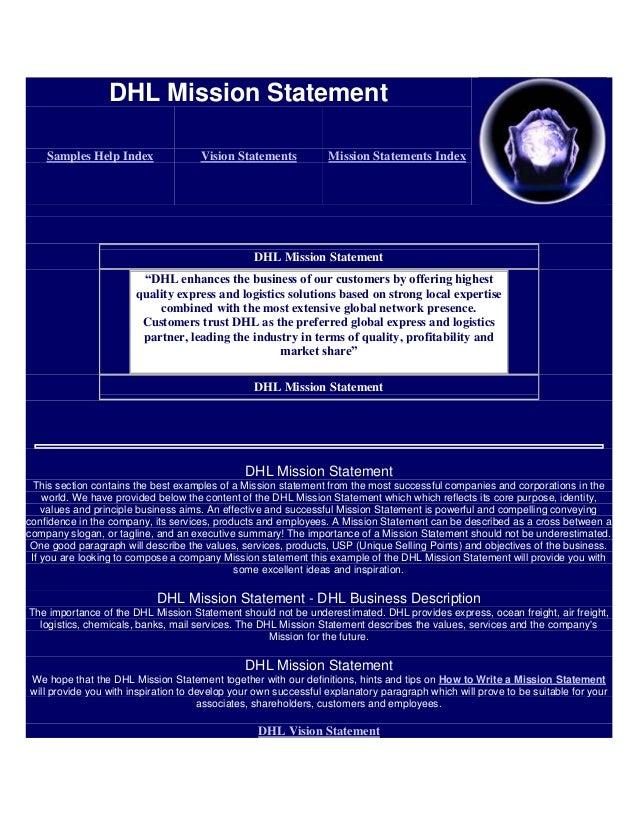 DHL Mission Statement Samples Help Index Vision Statements Mission ...