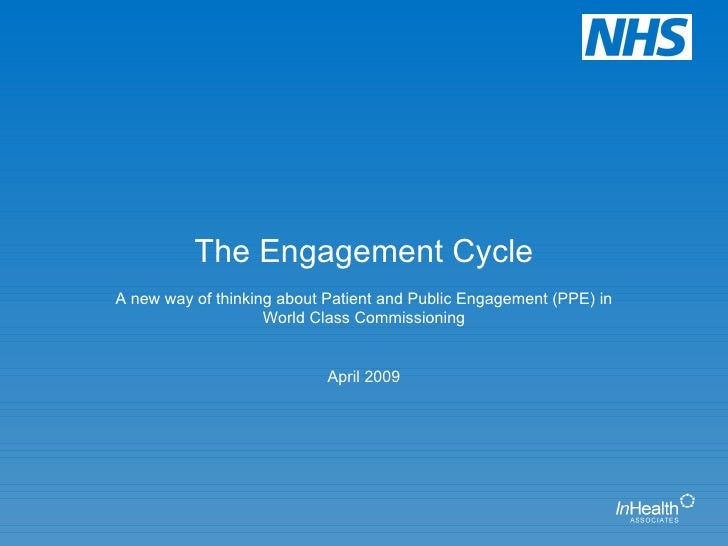 The Engagement Cycle A new way of thinking about Patient and Public Engagement (PPE) in World Class Commissioning April 2009