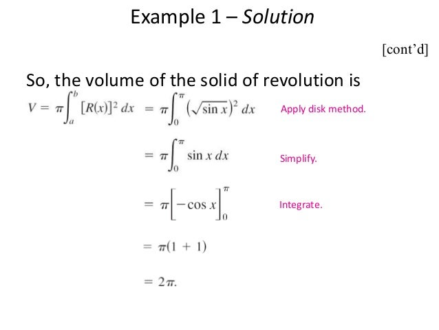 Ppt on application of integrals 22 example 3 using the washer method find the volume ccuart Gallery