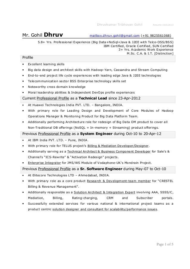 Dhruvkumar Tribhovan Gohil Resume 16012013Mr. Gohil Dhruv ...