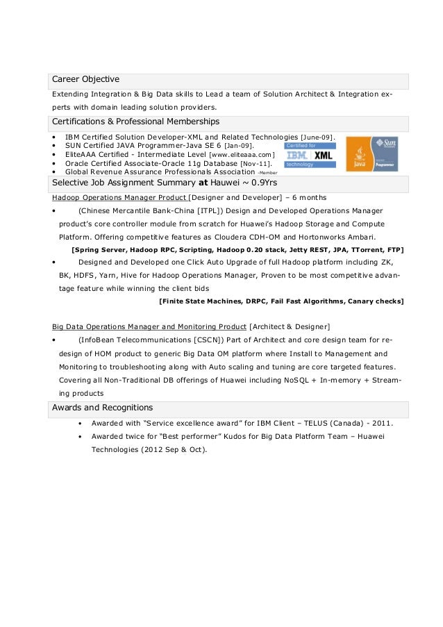 page 1 of 5 2 career objectiveextending integration big data