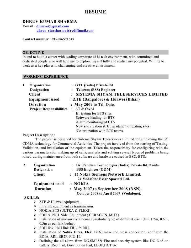 bts engineer resume