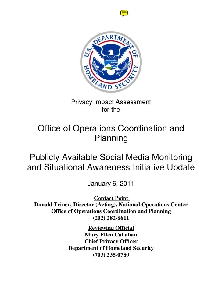 Privacy Impact Assessment                         for the  Office of Operations Coordination and                Planning P...